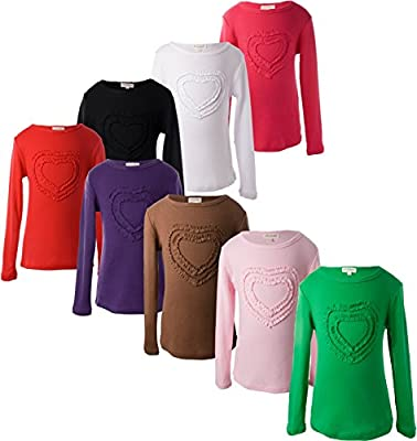 Ipuang Girls' Heart-shaped Long Sleeve T-Shirt