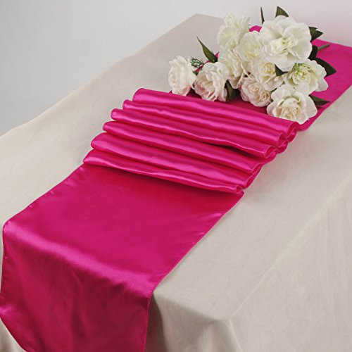 MDS Pack Of 10 Wedding 12 x 108 inch Satin Table Runner Wedding Banquet Decoration- Magenta