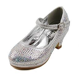 Dana-53k Little Girl Mid Heel Rhinestone Pretty Sandal Dress Shoes (1, Silver)