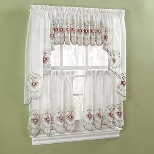 Gisela Rose Kitchen Curtains Valance Window Treatment Valances