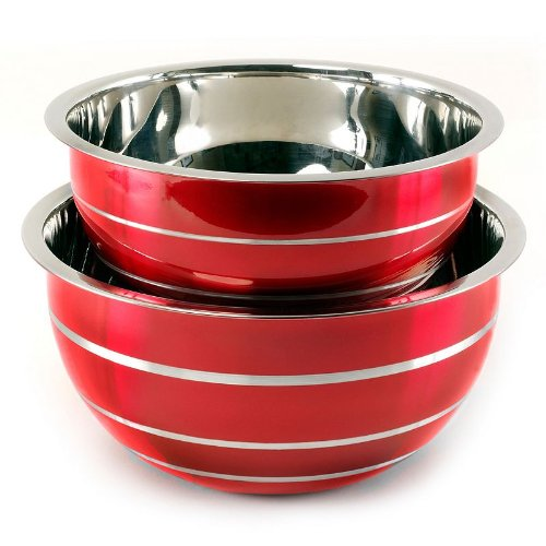 Heuck 2-Piece Red Stainless Steel Euro Bowl Cookware Set