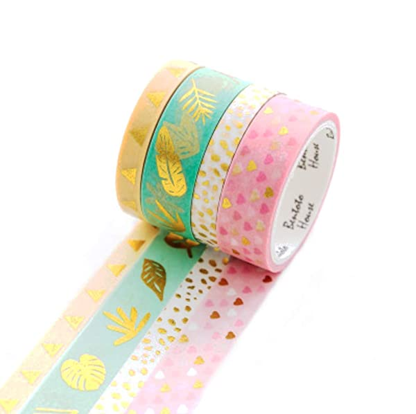 Tropical Leaves in Gold Foil Washi Tape for Planning /• Scrapbooking /• Arts Crafts /• Office /• Party Supplies /• Gift Wrapping /• Colorful Decorative /• Masking Tapes /• DIY