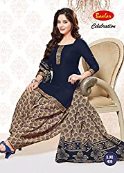 Taos Brand cotton dress materials for women womens dress materials cotton salwar suit New Arrival latest 2016 womens party wear Unstitched dress materials for women (bal406 summer__multicolour and blue_freesize
