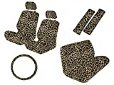 Safari Animal Print Auto Interior Gift Set - 2 Cheetah Low Back Front Bucket Seat Covers with Separate Headrest Cover, 1 Cheetah Steering Wheel Cover, 2 Cheetah Shoulder Harness Pressure Relief Cover, and 1 Bench Cover