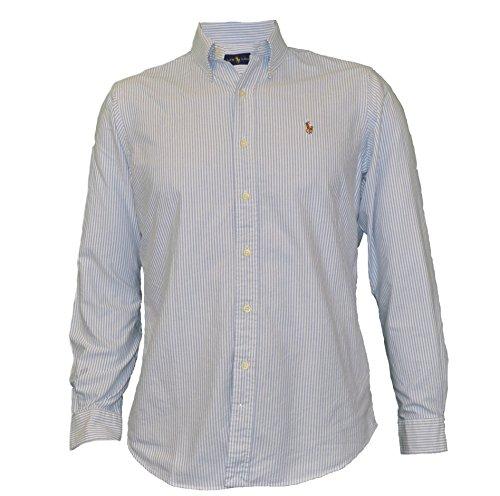 Polo Ralph Lauren Men's Long Sleeve Button Down Oxford Shirt-Blue/White-Medium (Ralph Lauren Clothing compare prices)