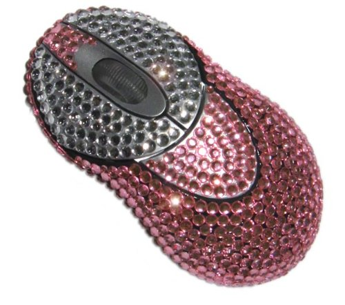 StyleSynch Bling Rhinestone Wireless Computer Mouse in Pink Maid