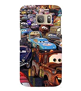 Printvisa Premium Back Cover Animated Human Cars Design For Samsung Galaxy S7::Samsung Galaxy S7 Duos with dual-SIM card slots