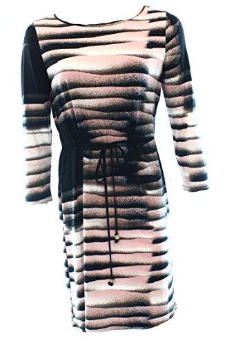 Ivanka Trump Women's Printed Dress with Belt, Black/Peony, Large