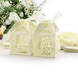 Wedding Gift Boxes Amazon : Amazon.com: 25Pcs Quality Pearl Paper Hollow Wedding Favor Candy Boxes ...