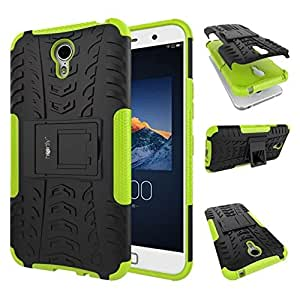 Heartly Tough Hybrid Flip Kick Stand Spider Hard Dual Shock Proof Rugged Armor Bumper Back Case Cover For Lenovo Zuk Z1 - Great Green