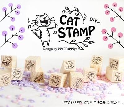 DIY Scrapbooking Vintage Wood Stamps Decoration Creative Cat Stamp Set Gift