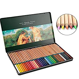 Watercolor Pencils Feelily 36 Soft Core Colored Pencils Marco Renior Professional Watercolor Water Soluble Colored Pencils with Metal Tin Case for Artist Sketch and Kids/Adult Coloring Books