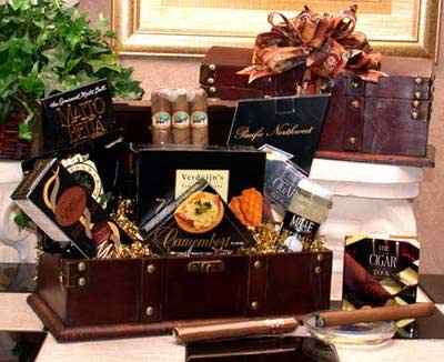Gentleman'S Cigar Chest Gourmet Food Gift Basket