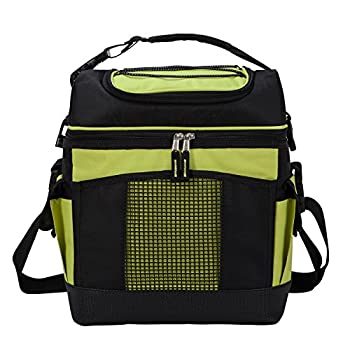 MIER 2 Compartment Cooler Bag Tote Large Insulated Lunch Bag for Picnic, Grocery, Kayak, Car, Travel, 24Can, Green