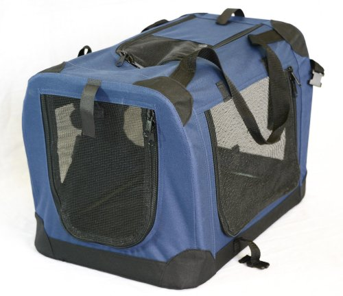 Portable Soft Pet Carrier or Crate or Kennel for Dog, Cat, or other small pets. Great for Travel, Indoor, and Outdoor (Dark Blue, Medium: 24″x16″x16″)