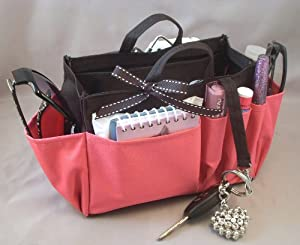 Click Here For Cheap Amazon.com: Jolie Black And Pink Handbag Purse Organizer Travel Cosmetic Make-up Tote Insert Dimensions: L 7.5x H 6x W 3.5: Beauty For Sale