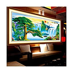 5D Diamond Painting Full-jewelled Living Room the Pine Greeting Guests Cross Stitch Treasures Fill the Home Diamond Paste Diamond Stitch