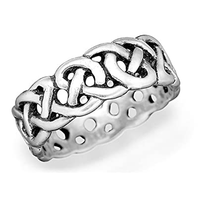 Avalon Sterling Silver Celtic Wedding Ring - size 13