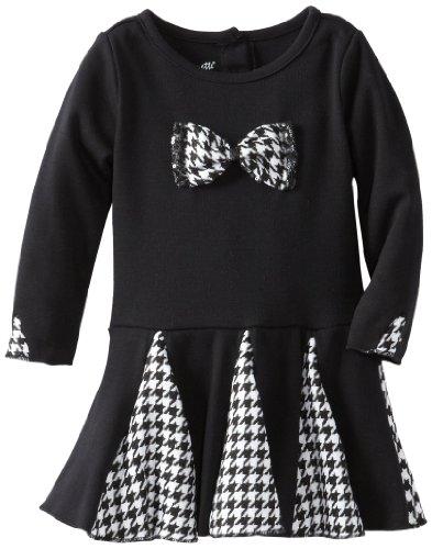 Nannette Little Girls' 1 Piece Patterned Bow Dress, Black, 2T