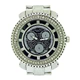 Mens Hip Hop Bling Watch - 1 Row Iced Out Bezel - Silver Plated - Blue Dial