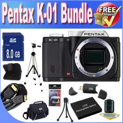 Online Cheap Pentax K-01 16MP APS-C CMOS Compact System Camera [Body] (Black) + Extended Life Battery + 8GB SDHC Class 10 Memory Card + USB Card Reader + Memory Card Wallet + Deluxe Case w/Strap + Shock Proof Deluxe Case + Mini HDMI to HDMI Cable + Professional Full Size Tripod + Accessory Saver Bundle! Buy cheap price