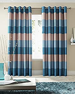"""Brazil Teal Beige/cream Striped Faux Silk Lined Ring Top 66"""" X 90"""" Curtains #oir from PCJ SUPPLIES"""