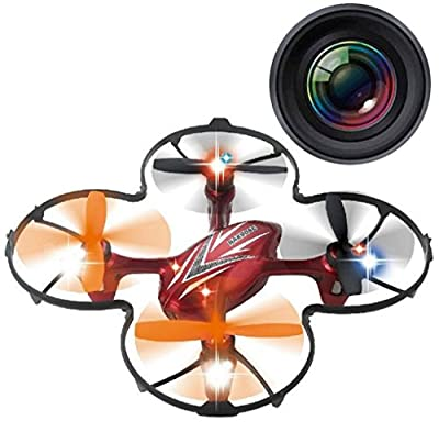 Haktoys HAK904C Mini RC Quadcopter Drone with Camera 2.4GHz 6-Axis Gyro Bonus 4 Blades included - Colors May vary