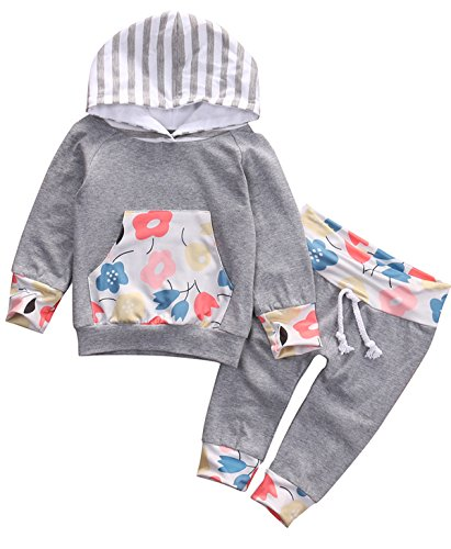 Baby Girls Flowers Print Long Sleeve Hoodie with Pocket and Pants Outfits (100(18-24M))