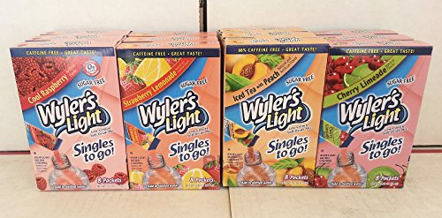 Wyler'S Soft Drink Mix Combo, 3 Cool Raspberry, 3 Strawberry Lemonade, 3 Peach Iced Tea, 3 Cherry Limeade.. (12 Pack).. Hpvagr