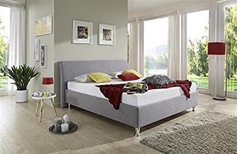 Breckle 100 x 200 cm Tyree Comfort 28 cm Height 3 cm Überstehend Textile Upholstered Bed, Grey