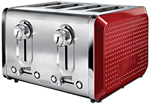 BELLA 13841 Dots Collection 4-Slice Toaster, Red by BELLA