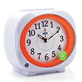 JCC Smart Light Night Sensor Non Ticking Sweep Second Hand Bedside Alarm Clock with snooze function(White)