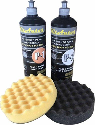 Pasta abrasiva per carrozzeria, include 1 kg per graffi, 1 kg per lucidatura e spugne per la pulizia da 150 mm.