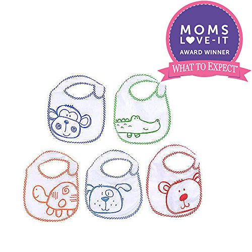 Koala Baby Boys Small Feeder Bib 5 Pack- Scribbles