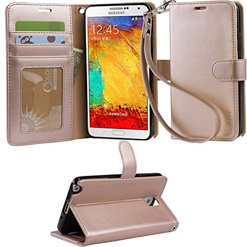 ARAE Samsung Galaxy Note 3 wallet Case with Kickstand and Flip cover, Rose Gold (Galaxy 3 Phone Cases Wallet compare prices)