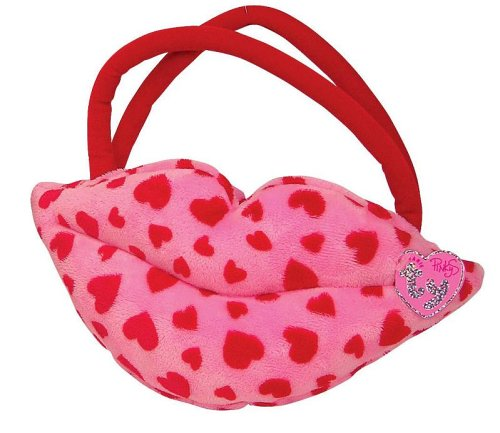 Smooches - Lip Purse - Pink With Red Hearts