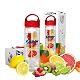 Savvy Infusion Water Bottle - 24 Oz. - Create Your Own Naturally Flavored Fruit Infused Water, Juice, Iced Tea, Detox Lemonade & Sparkling Beverages