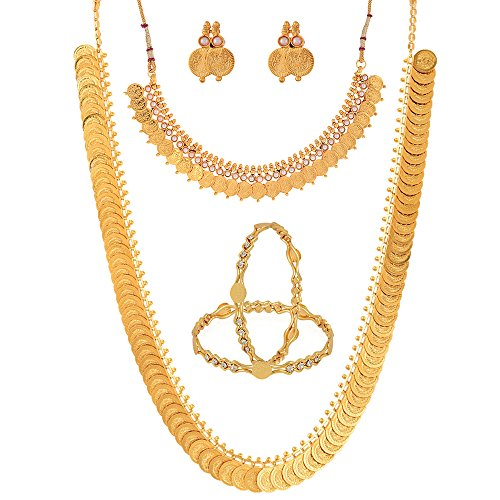 Zeneme-Gold-Plated-Chain-Necklace-With-Earrings-Bangle-Set-Temple-Coin-Chain-Necklace-For-WomenGirls