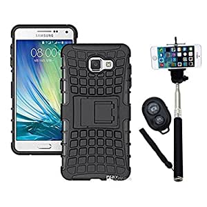 Hard Dual Tough Military Grade Defender Series Bumper back case with Flip Kick Stand for Samsung A510 + Wireless Bluetooth Remote Selfie Stick for all Smart phones by carla store.