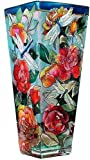 Roses and Dragonflies Hand Painted Stained Art Glass Flower Vase