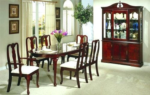 7pc Queen Anne Style Cherry Finish Dining Table Chair Set