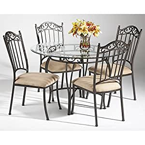 Wrought iron round dining room set table for Dining room tables on amazon