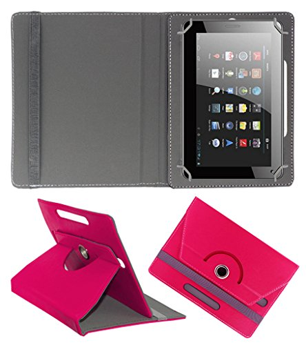 Acm Rotating 360° Leather Flip Case For Micromax Funbook Talk P362 Tablet Cover Stand Dark Pink  available at amazon for Rs.149