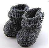 Dealzip Inc®Unisex Boy Girl Baby Newborn Infant Hand Knitting Crochet Beige Tassel Buckle Shoes Socks Boots+Random gift