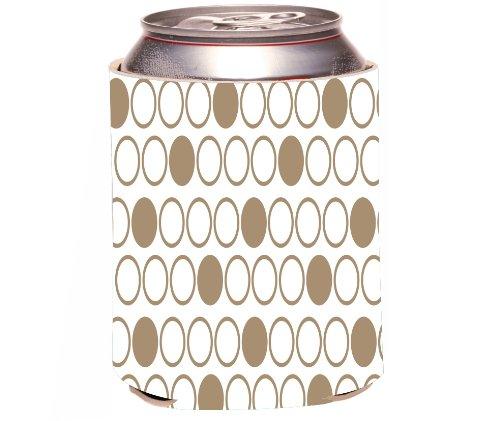 Rikki Knight Beer Can Soda Drinks Cooler Koozie, Inverted Brown Polka Dots Design front-556946