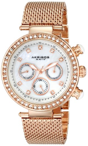 Akribos XXIV Women's Lady Crystal-Accented Stainless Steel Watch