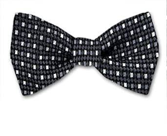 Black - Gray Self-Tie Pattern Bow Tie By The-Perfect-Necktie