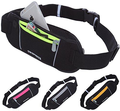GW SPORTS ランニング ジョギング サイクリング ウォーキング ポーチ ベルト 全4色 (iPhone6 Plus以下のサイズに対応) (ブラック×オレンジ)