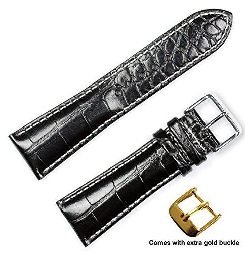 crocodile-grain-chrono-watchband-w-white-stitching-black-22mm-by-debeer