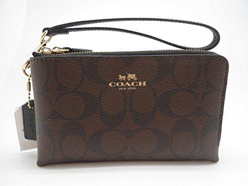 coach-signature-pvc-double-corner-zip-wristlet-wallet-64131-brown-black